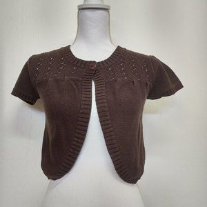 Girls Cato size XL(16) Brown Cardigan Crop Sweater